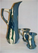 PITCHER AND CUPS, 2007 B-mix and glaze